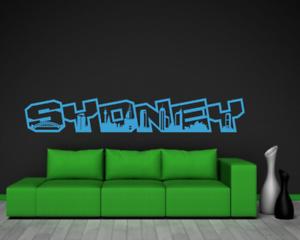Samunshi Sydney Schriftzug Skyline Wandtattoo  25 Farben 8 Größen