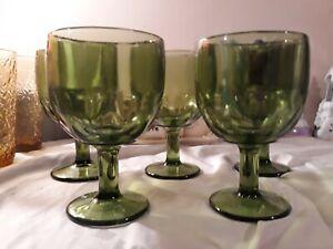 Set-Of-5-Vintage-Green-Goblets-Unbranded