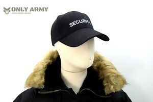 Security-Cap-Black-Baseball-Hat-Premium-Quality-Embroidered-Army-Military-Door