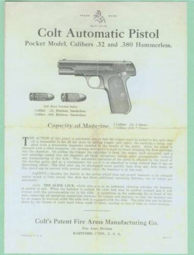 Colt Model Pocket 32  /& 380 1903 /& 1908 Owners Manual Reproduction
