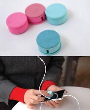 2 En 1 Teléfono Mp4 Auriculares Cable Candy Color Bobina Enrollador + Pantalla Limpia