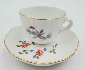 Elegant Meissen Germany Hand Painted Floral/Bird Demitasse Cup and Saucer Pair