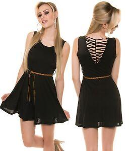 Minikleid Kleid Koucla Schnürung Gürtel Cocktailkleid Partykleid RjAc54qL3