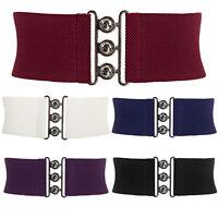 S M L XL Lady Womens Waist Band Elastic Metal Waist Belt Wide HOOK Buckle Belts