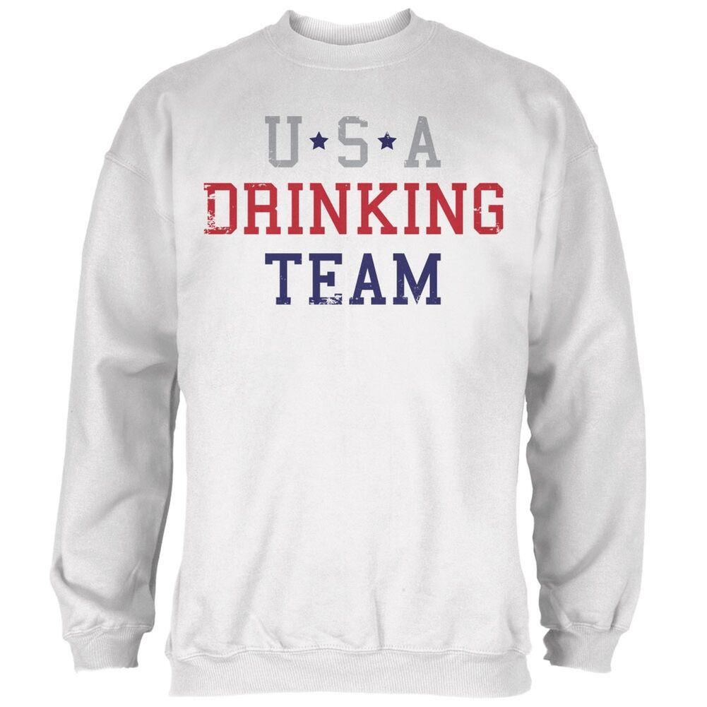 4th of July USA Drinking Team Weiß Adult Sweatshirt
