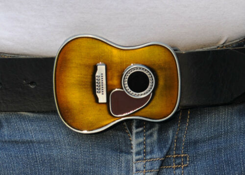 Ledergürtel GRATIS Gürtelschnalle Buckle Gürtelschließe Motiv Gitarre