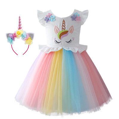Girls Rainbow Unicorn Tutu Dress Christmas Birthday Party Costume Hair Hoop Sets