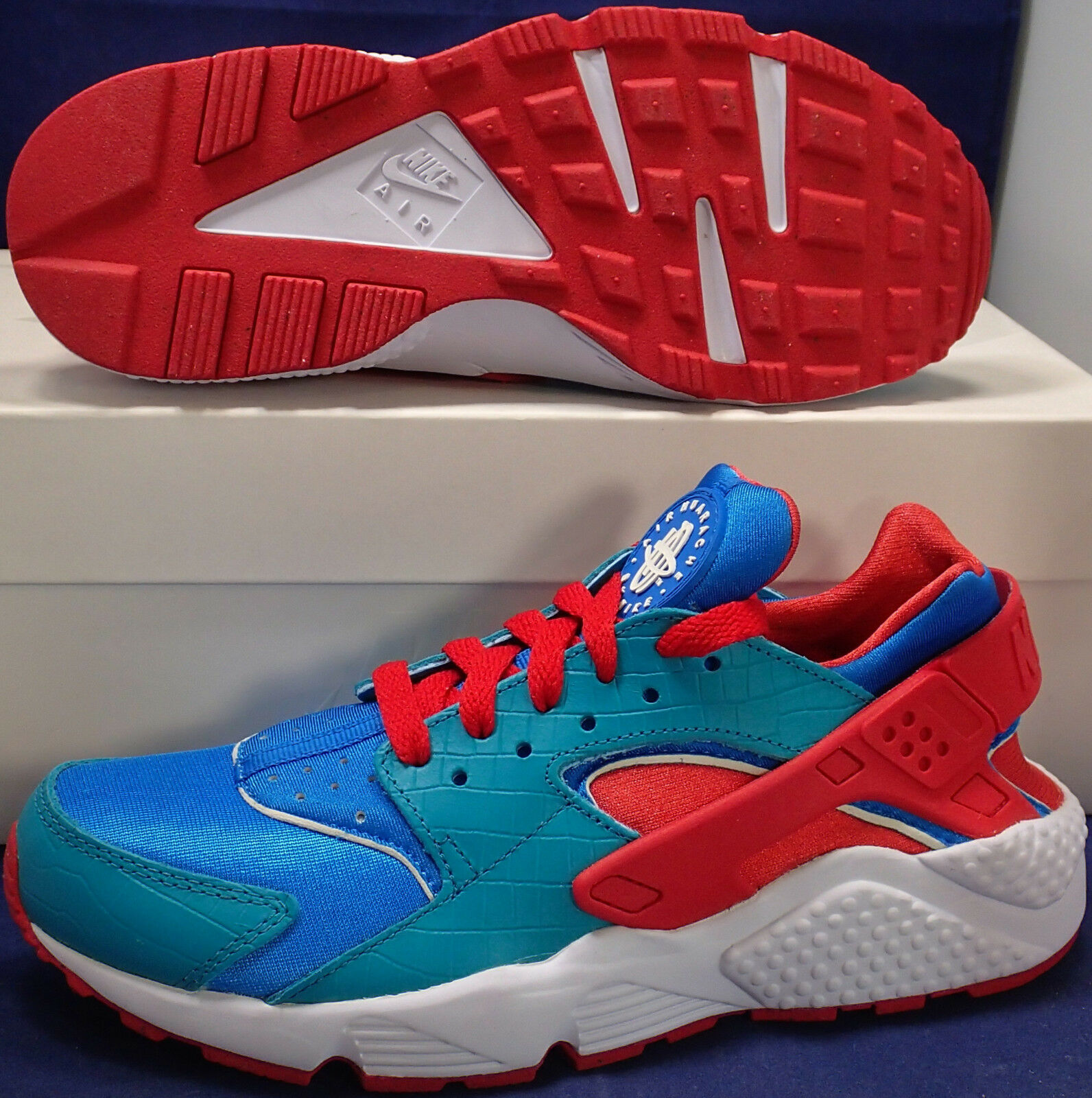 Damen Nike Luft Huarache Run Identifikation Kroko Türkis Sz Rot Blau Sz Türkis 7.5 607773