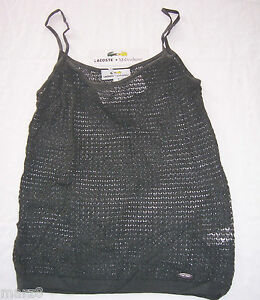 NWT Lacoste + Malandrino Olive Green Crocheted Tank Top  Shirt Misses Size Large
