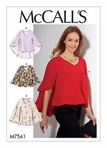 M7541 Mccall S Sewing Pattern Misses Loose Fitting Pull Over Tops