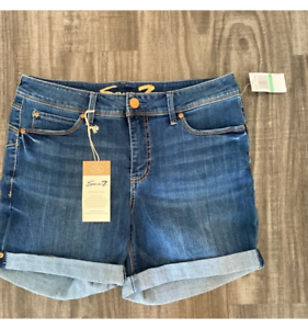 Seven7 Womens Booty Shaper Shorts Blue Stretch Medium Wash Whiskered Denim 8 New