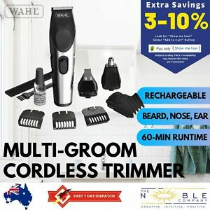 Wahl-Cordless-Beard-Hair-Clippers-Grooming-Set-Rechargeable-Nose-Ear-Trimmer-Kit