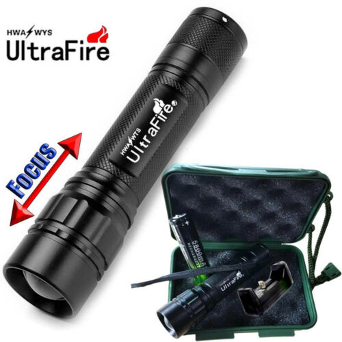 UK Ultrafire 20000LM ZOOM 3 Modes T6 LED Camp Flashlight Torch+18650+Charger+BOX
