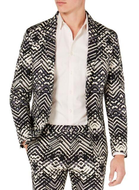 INC Men's Black Suit Jacket Size XS Slim Stretch Abstract Peak Lapel $129 #009