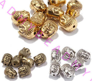Wholesale-20pcs-Tibet-Silver-Charm-Buddha-Head-Spacer-Beads-DIY-Jewelry-Finding