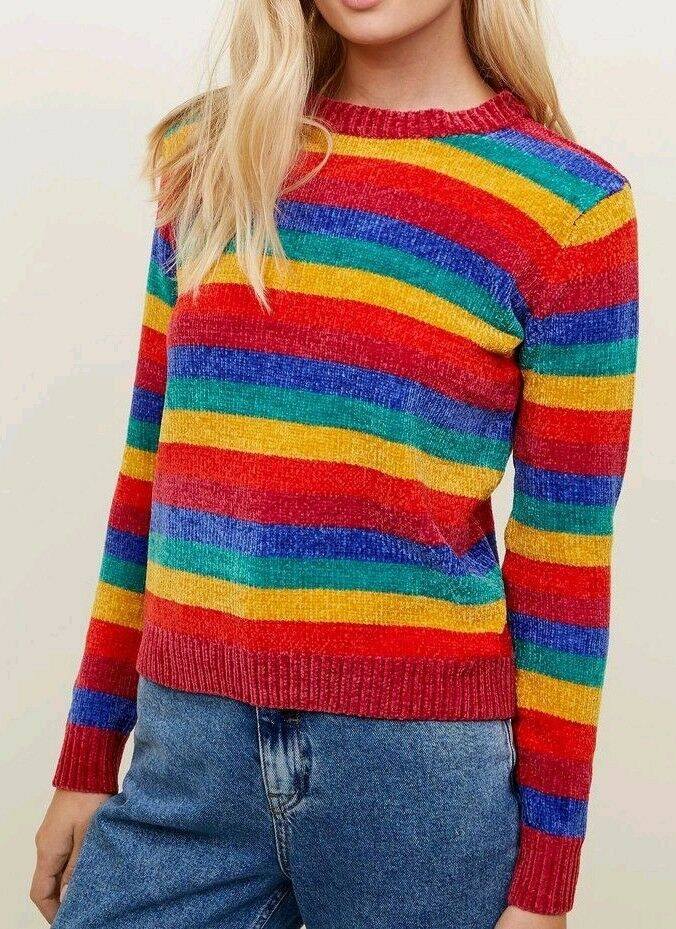 QED LONDON Rainbow Jumper Knitted Pull Over Sweater Top Ladies Size 12 Medium