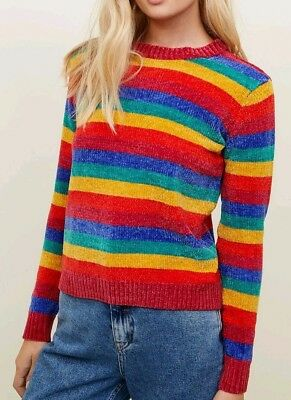QED LONDON Rainbow Jumper Knitted Pull Over Sweater Top Ladies Uk Size 12 Medium