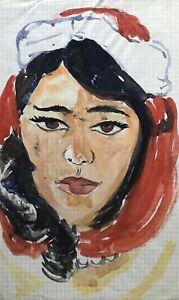 Ulla-haak-Weinert-1897-1967-Portrait-joven-mujer-con-gorro-estudio-boceto
