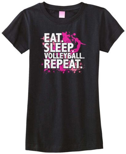 Threadrock Girls Eat Sleep Volleyball Fitted T-shirt Sport Slogan Spike