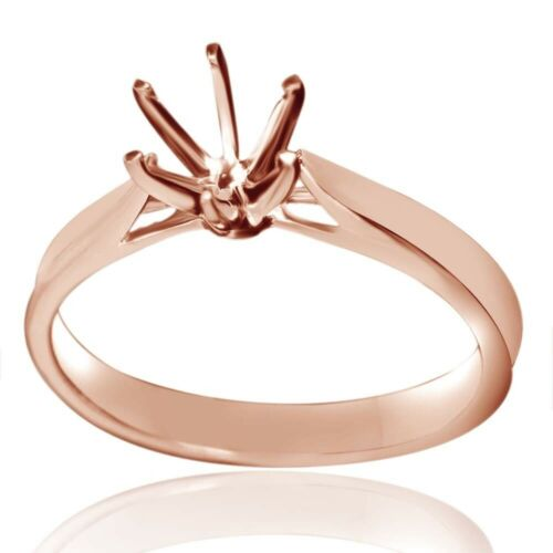 Solitaire Semi-Mount Engagement Ring Round Cut Setting Solid 10K Rose Gold