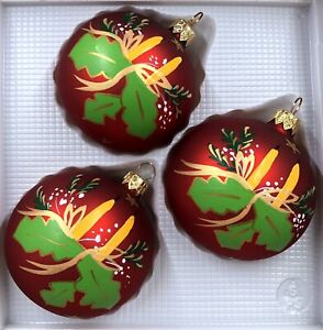 3 Vintage Christmas Ball Ornaments Marek Geyer Poland Glass Red W Gold Candles Ebay