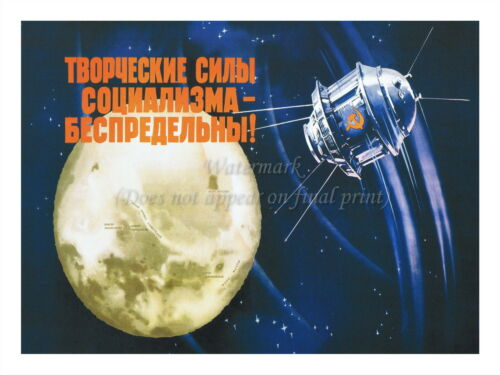 """Soviet Russian Space Propaganda Poster Print CREATIVE FORCES MOON 18x24/"""" #SP004"""