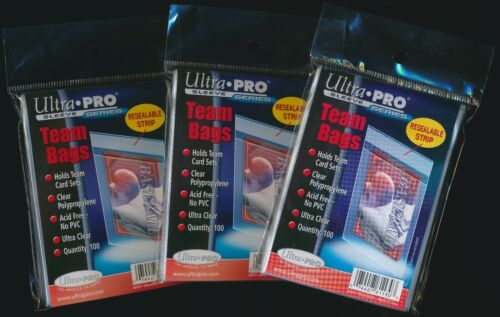 300 Ultra Pro Resealable Team Bags Acid Free 3 New packs!