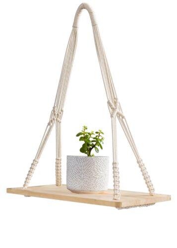 Mkono Macrame Display Wall Hanging Shelf Swing Rope Floating Shelves Home Decor,