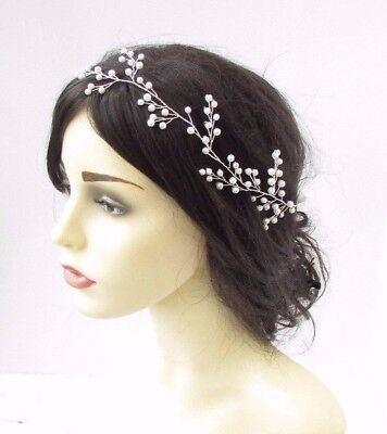 Silver Ivory Diamante Pearl Headband Headpiece Bridal Wedding Hair Band 3825
