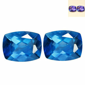 3-53-Cts-8x6-PAIR-Natural-Color-Change-FLOURITE-for-Jewelry-Setting-Cushion-Cut