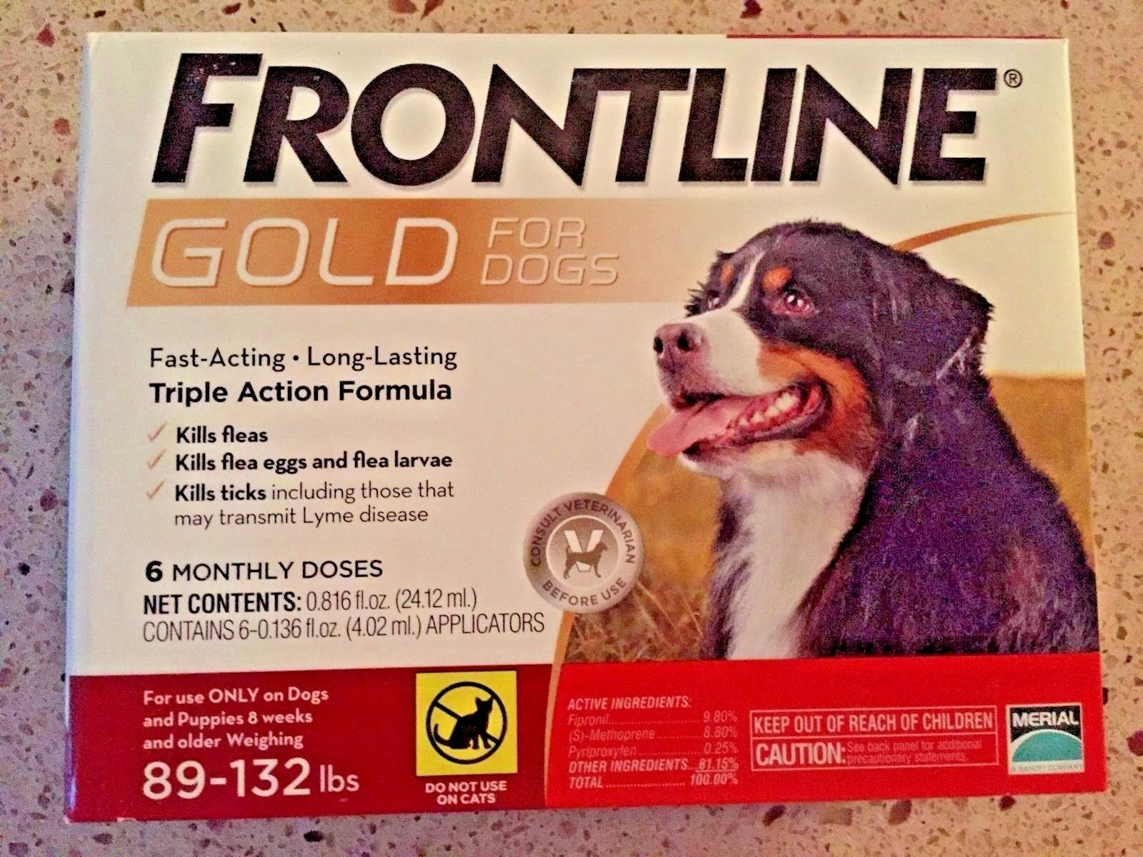 FRONTLINE gold FOR DOGS 89 TO 132 LBS 6 DOSES EPA Approved     FREE SHIPPING
