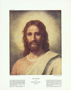 HEINRICH-HOFMANN-Vintage-c1944-039-Westminster-Color-Print-039-of-Jesus-THE-SAVIOUR