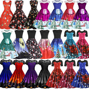 AU-Womens-Vintage-50s-60s-Rockabilly-Christmas-Xmas-Party-Swing-Dress-Plus-Size