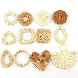 1pair-2pcs-Wood-Square-Drop-Heart-Diy-Straw-Weave-Rattan-Earring-Jewelry-Finding