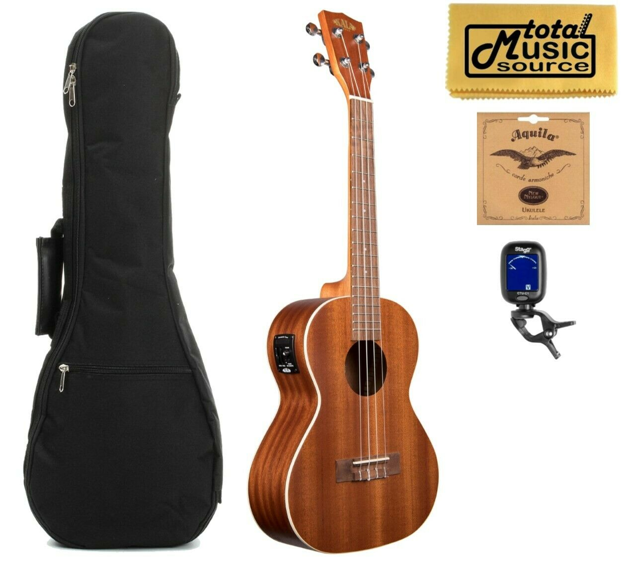 Kala KA-TE Mahogany Tenor Acoustic Electric Ukulele, w  Gigbag Bundle