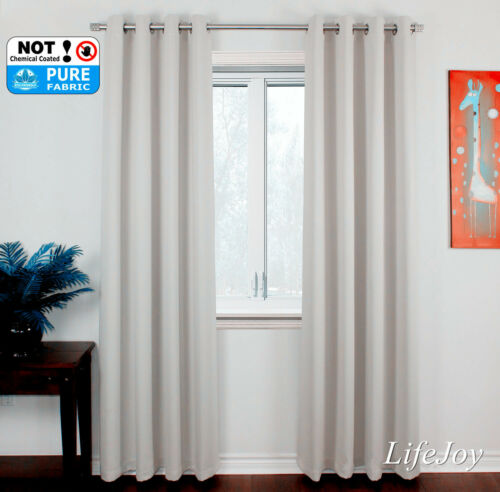 HIGH QUALITY BLOCKOUT BLACKOUT EYELET CURTAIN GREY WHITE