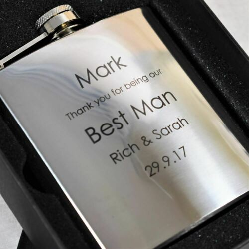 Best Man Personalised Engraved Hip Flask Wedding Gifts for Best Man /& Ushers