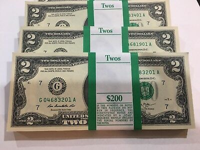 100 New Uncirculated  2 Two Dollar Bills BEP Pack FRB Chicago Series 2013