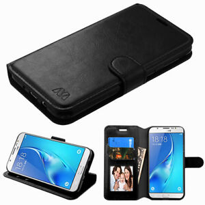 For-Samsung-GALAXY-J3-Emerge-Luna-Pro-Leather-Flip-Wallet-Case-Cover-Pouch-BLACK