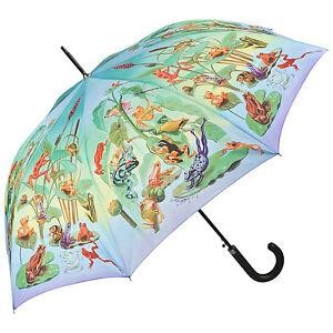Regenschirm-Damen-Kinder-Herren-bunt-Tiere-Stockschirm-Motiv-Froschfamilie