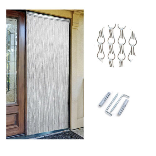 Metal Chain Door Curtain Fly Insect Blinds Screen Pest Control Aluminum 214x90CM