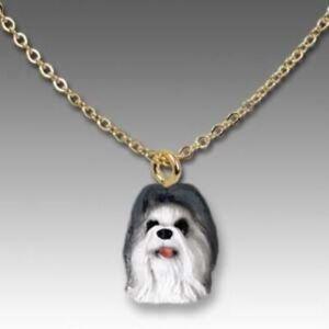 ORNATE GOLD PENDANT NECKLACE SHIH TZU JAPANESE CHIN DOG Shih-Chin