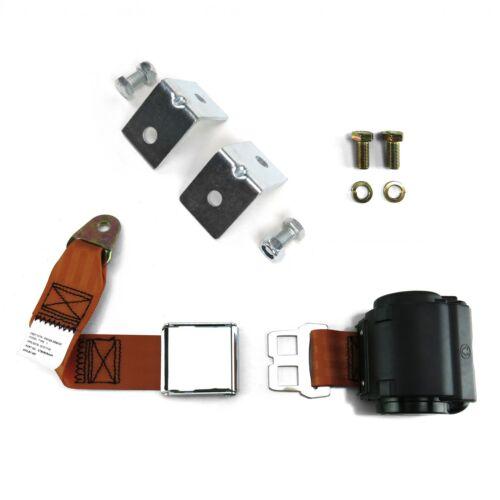 2pt Copper Retractable Airplane Buckle Lap Seat Belt w// Anchor Hardware SafTboy