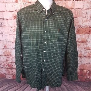 Ralph-Lauren-Classic-Fit-Button-Down-Red-amp-Green-Plad-Size-L