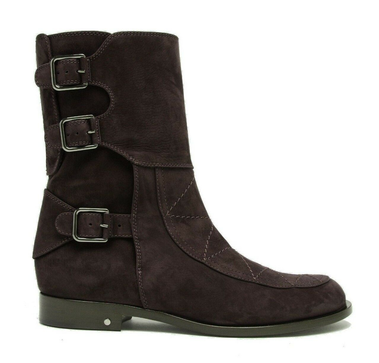 $950 - LAURENCE DECADE Women's 'RICK' Brown SUEDE Buckles ANKLE BOOTS - 41 / 11