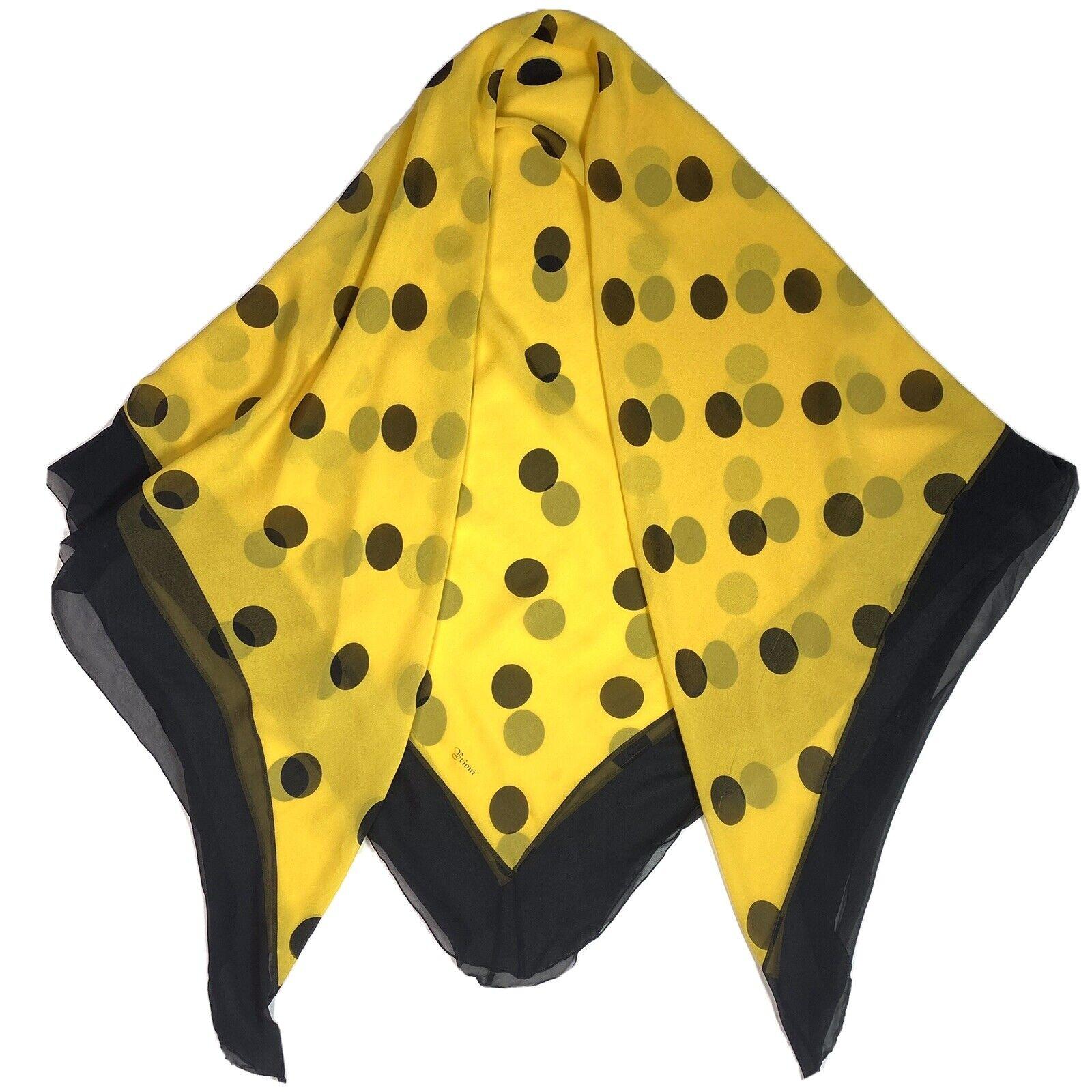 Vtg 80s Brioni Italy Big Sheer Yellow & Black Pol… - image 3