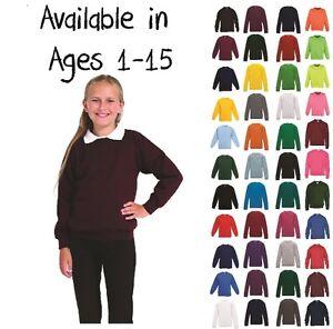 Boys-Girls-Unisex-Jumper-Sweatshirt-Crew-Neck-School-Uniform-Ages-1-15