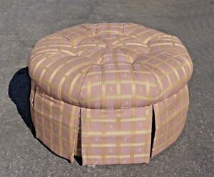 Cool Details About Lazyboy Lavender Tufted Round Ottoman Bench With Sage Stripes Camellatalisay Diy Chair Ideas Camellatalisaycom