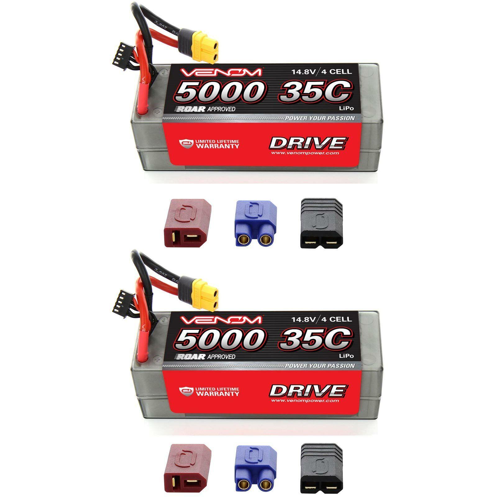 Venom 35C 4S 5000mAh 14.8V Carcasa dura RC Lipo Batería rugido con paquetes de Enchufe x2 Uni