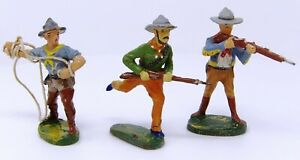 Vintage-Elastolin-Composite-Cowboys-70mm-Post-1940-Toy-Soldiers-Made-in-Germany